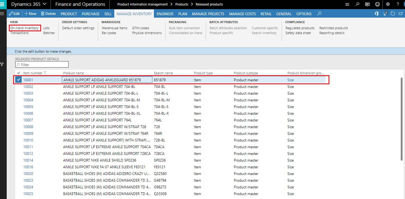 On-hand Inventory in Dynamics 365 F&O